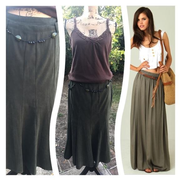 Laura Scott Dresses & Skirts - Awesome Olive maxi moleskin skirt!💚FINAL PRICE💚